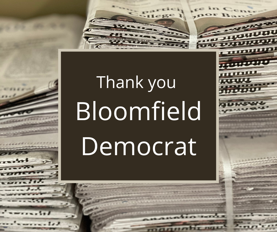 Thank you Bloomfield Democrat! (NIE week)