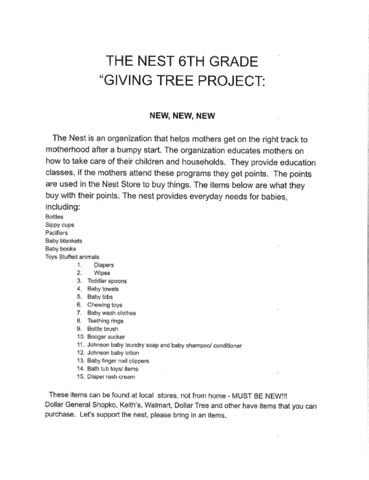 "The Nest 6th Grade ""Giving Tree Project"""
