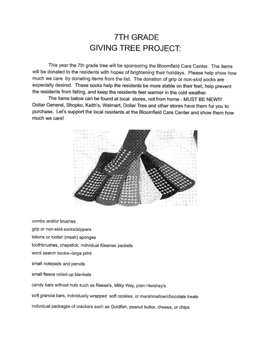 7th Grade Giving Tree Project
