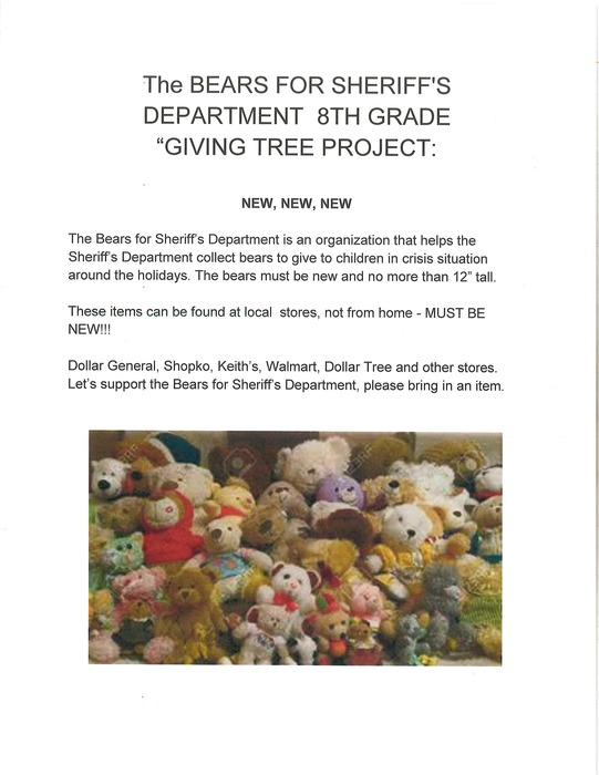 "The BEARS FOR SHERIFF'S DEPARTMENT -8TH GR. ""GIVING TREE PROJECT"""