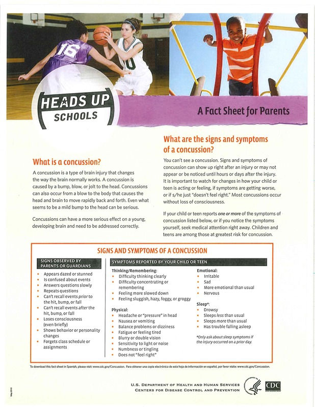 Concussion Heads Up Fact Sheet